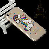 Недорогие Кейсы для iPhone 8-Кейс для Назначение Apple iPhone X iPhone 8 Защита от удара Полупрозрачный Кейс на заднюю панель единорогом Животное Мягкий ТПУ для