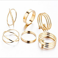 cheap -alloy elephant band ring / ring set - 6pcs geometric / circle vintage / metallic gold ring for holiday / party