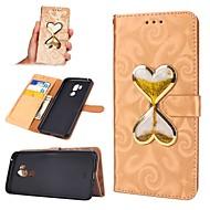 お買い得  携帯電話ケース-ケース 用途 LG G7 ウォレット / カードホルダー / リキッド フルボディーケース ハート ハード PUレザー のために LG G7