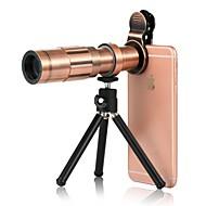 abordables Lentes para Móvil-Lente de teléfono móvil Gran Angular Aleación de aluminio Macro 20X 3 m 70 ° Lente con Soporte