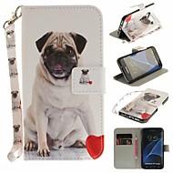 Недорогие Чехлы и кейсы для Galaxy S7 Edge-Кейс для Назначение SSamsung Galaxy S7 edge Кошелек / Бумажник для карт / со стендом Чехол С собакой Твердый Кожа PU для S7 edge