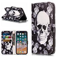 Недорогие Кейсы для iPhone 8-Кейс для Назначение Apple iPhone X / iPhone 8 Plus Кошелек / Бумажник для карт / со стендом Чехол Черепа Твердый Кожа PU для iPhone X / iPhone 8 Pluss / iPhone 8