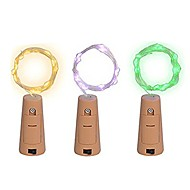 cheap -2m String Lights 20 LEDs Warm White / Multi Color Creative / Waterproof / Decorative Batteries Powered 3pcs