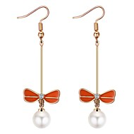 cheap -Women's Long Drop Earrings - Imitation Pearl Butterfly Ethnic, Sweet, Fashion Red / Green / Blue For Party / Evening / Going out