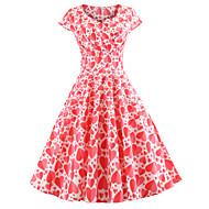 cheap -Women's Party Birthday Basic Mini Slim Sheath Dress - Geometric U Neck Spring Cotton Red L XL XXL