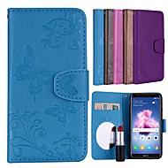 preiswerte Handyhüllen-Hülle Für Huawei P smart Kreditkartenfächer / Flipbare Hülle / Muster Ganzkörper-Gehäuse Solide / Schmetterling Hart PU-Leder für P smart