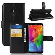 お買い得  携帯電話ケース-ケース 用途 LG LG Q7 / K10 2018 ウォレット / カードホルダー / フリップ フルボディーケース ソリッド ハード PUレザー のために LG X venture / LG V30 / LG V20 MINI / LG G6