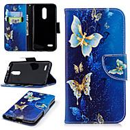 preiswerte Handyhüllen-Hülle Für LG K10 2018 Geldbeutel / Kreditkartenfächer / mit Halterung Ganzkörper-Gehäuse Schmetterling Hart PU-Leder für LG K10 2018