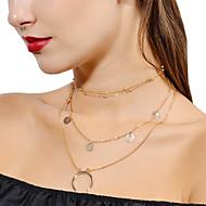 ieftine Bijuterii&Ceasuri-Pentru femei Perle În Straturi Coliere Choker / Coliere cu Pandativ / Coliere Layered - Florale / Botanice, MOON Personalizat, Modă, Multistratificat Auriu, Argintiu Coliere Pentru Serată, Strad