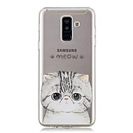 Недорогие Чехлы и кейсы для Galaxy А-Кейс для Назначение SSamsung Galaxy A6+ (2018) / A6 (2018) Прозрачный / С узором Кейс на заднюю панель Кот Мягкий ТПУ для A6 (2018) / A6+ (2018) / A3 (2017)