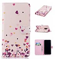 Недорогие Чехлы и кейсы для Galaxy S9 Plus-Кейс для Назначение SSamsung Galaxy S9 Plus / S9 Кошелек / Бумажник для карт / со стендом Чехол С сердцем Твердый Кожа PU для S9 / S9 Plus / S8 Plus