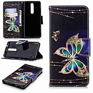 お買い得  携帯電話ケース-ケース 用途 Nokia Nokia 5.1 / Nokia 3.1 ウォレット / カードホルダー / スタンド付き フルボディーケース バタフライ ハード PUレザー のために Nokia 8 / Nokia 6 2018 / Nokia 2.1