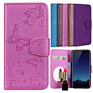 preiswerte Handyhüllen-Hülle Für Vivo V7+ Kreditkartenfächer / Flipbare Hülle / Muster Ganzkörper-Gehäuse Solide / Schmetterling Hart PU-Leder für vivo V7+