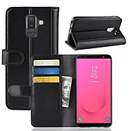 Case For Samsung Galaxy J8 / J6 Wallet / Card Holder / with Stand Full Body Cases Solid Colored Hard Genuine Leather for J8 / J7 Duo / J7 (2017)