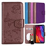 preiswerte Handyhüllen-Hülle Für Xiaomi Redmi S2 / Mi 8 Geldbeutel / Kreditkartenfächer / mit Halterung Ganzkörper-Gehäuse Schmetterling / Blume Hart PU-Leder für Redmi Note 5A / Xiaomi Redmi Note 4 / Xiaomi Redmi 5