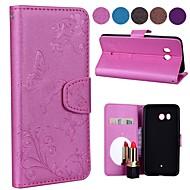 preiswerte Handyhüllen-Hülle Für HTC M9 / U11 Geldbeutel / Kreditkartenfächer / mit Halterung Ganzkörper-Gehäuse Schmetterling Hart PU-Leder für HTC U11 / HTC M8 / HTC M9