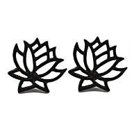 Недорогие Украшения в цветочном стиле-Жен. Серьги-гвоздики - Цветы, Lotus Простой, корейский, Мода Золотой / Черный / Серебряный Назначение Вечеринка / ужин / Подарок / Повседневные