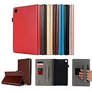 お買い得  携帯電話ケース-ケース 用途 Huawei MediaPad M5 8 カードホルダー / スタンド付き / 磁石バックル フルボディーケース ソリッド ハード PUレザー のために MediaPad M5 8