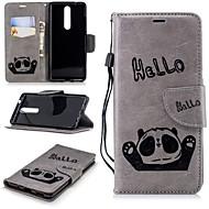 お買い得  携帯電話ケース-ケース 用途 Nokia Nokia 5.1 / Nokia 3.1 ウォレット / カードホルダー / スタンド付き フルボディーケース パンダ ハード PUレザー のために Nokia 5 / Nokia 5.1 / Nokia 3