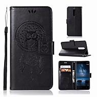お買い得  携帯電話ケース-ケース 用途 Nokia Nokia 5.1 ウォレット / カードホルダー / スタンド付き フルボディーケース フクロウ ハード PUレザー のために Nokia 5.1