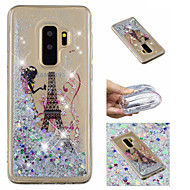 Недорогие Чехлы и кейсы для Galaxy S8-Кейс для Назначение SSamsung Galaxy S9 Plus / S9 Движущаяся жидкость / С узором / Сияние и блеск Кейс на заднюю панель Эйфелева башня / Сияние и блеск Мягкий ТПУ для S9 / S9 Plus / S8 Plus