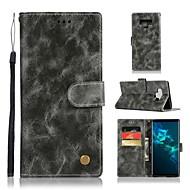 Недорогие Чехлы и кейсы для Galaxy Note 8-Кейс для Назначение SSamsung Galaxy Note 9 / Note 8 Кошелек / Бумажник для карт / со стендом Чехол Однотонный Твердый Кожа PU для Note 9 / Note 8 / Note 5