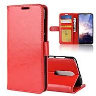 お買い得  携帯電話ケース-ケース 用途 Nokia Nokia 7 Plus / Nokia X6 ウォレット / カードホルダー / フリップ フルボディーケース ソリッド ハード PUレザー のために Nokia 8 / 8 Sirocco / Nokia 7