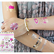 cheap Temporary Tattoos-3 pcs Metallic Tattoo Temporary Tattoos Flower Series / Romantic Series Eco-friendly / New Design Body Arts Body / Arm / Wrist / Metallic jewelry tattoos / Decal-style temporary tattoos