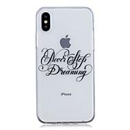 Недорогие Кейсы для iPhone 8 Plus-Кейс для Назначение Apple iPhone X / iPhone 8 Plus Ультратонкий / Прозрачный / С узором Кейс на заднюю панель Слова / выражения Мягкий ТПУ для iPhone X / iPhone 8 Pluss / iPhone 8