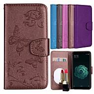 preiswerte Handyhüllen-Hülle Für Xiaomi Mi 5X Kreditkartenfächer / mit Halterung / Muster Ganzkörper-Gehäuse Schmetterling / Blume Hart PU-Leder für Xiaomi Mi 5X