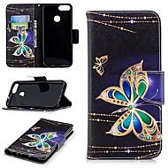 preiswerte Handyhüllen-Hülle Für Huawei P smart Geldbeutel / Kreditkartenfächer / mit Halterung Ganzkörper-Gehäuse Schmetterling Hart PU-Leder für P smart
