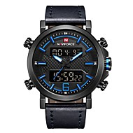 NAVIFORCE Men's Sport Watch Military Watch Japanese Japanese Quartz 30 m Water Resistant / Water Proof Alarm Calendar / date / day Genuine Leather Band Analog Digital Luxury Fashion Black / Brown -