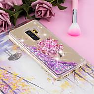 Недорогие Чехлы и кейсы для Galaxy S9-Кейс для Назначение SSamsung Galaxy S9 Plus / S9 Движущаяся жидкость / Прозрачный / С узором Кейс на заднюю панель дерево / Цветы Мягкий ТПУ для S9 / S9 Plus / S8 Plus