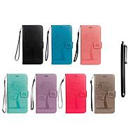 Недорогие Чехлы и кейсы для Galaxy Note 8-Кейс для Назначение SSamsung Galaxy Note 9 / Note 8 Кошелек / Бумажник для карт / со стендом Чехол Сова / дерево Твердый Кожа PU для Note 9 / Note 8