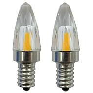 お買い得  LED キャンドルライト-2pcs 3 W 150-200 lm E12 LEDキャンドルライト 1 LEDビーズ COB 装飾用 温白色 / クールホワイト 110-120 V