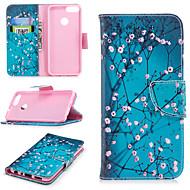 お買い得  携帯電話ケース-ケース 用途 Huawei P smart ウォレット / カードホルダー / スタンド付き フルボディーケース フラワー ハード PUレザー のために P smart