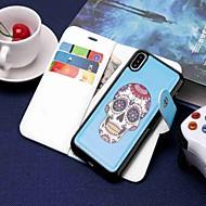Недорогие Кейсы для iPhone 8 Plus-Кейс для Назначение Apple iPhone XR / iPhone XS Max Кошелек / Бумажник для карт / со стендом Чехол Черепа Твердый Кожа PU для iPhone XS / iPhone XR / iPhone XS Max