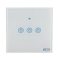 Недорогие Интеллектуальные коммутаторы-weto w-t13 eu / us / cn 3 gang wifi smart wall switch сенсорный сенсорный переключатель умный домашний пульт дистанционного управления работает с alexa google home через смартфон