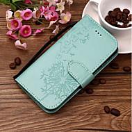 Недорогие Чехлы и кейсы для Galaxy S-Кейс для Назначение SSamsung Galaxy S9 Plus / S9 Бумажник для карт / Рельефный / С узором Чехол одуванчик Твердый Кожа PU для S9 / S9 Plus / S8 Plus