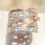 Femme Crossover Bague - Plaqué Or Rose, Imitation Diamant Gypsophile Original, Mode, Elégant 6 / 7 / 8 / 9 / 10 Or Rose Pour Soirée Rendez-vous