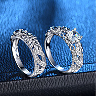 cheap -Women's Hollow Out Ring Ring Set - Platinum Plated, Imitation Diamond Love, Petal Romantic, Fashion, French 6 / 7 / 8 / 9 / 10 Silver For Party Date / 2pcs