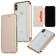 Недорогие Кейсы для iPhone 8-Кейс для Назначение Apple iPhone XR / iPhone XS Max Бумажник для карт / Покрытие / Флип Чехол Однотонный Твердый Кожа PU для iPhone XS / iPhone XR / iPhone XS Max
