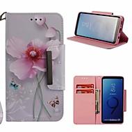 Недорогие Чехлы и кейсы для Galaxy S9-Кейс для Назначение SSamsung Galaxy S9 Кошелек / Бумажник для карт / со стендом Чехол Цветы Твердый Кожа PU для S9