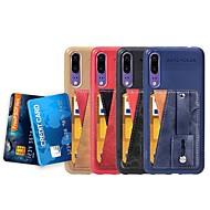 お買い得  携帯電話ケース-ケース 用途 Huawei Y3 (2018) / P20 カードホルダー / スタンド付き / バンカーリング バックカバー ソリッド ソフト PUレザー のために Huawei P20 / Huawei P20 Pro / Huawei P20 lite