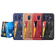 Недорогие Чехлы и кейсы для Galaxy А-Кейс для Назначение SSamsung Galaxy A8 2018 / A6 (2018) Бумажник для карт / со стендом / Кольца-держатели Кейс на заднюю панель Однотонный Мягкий Кожа PU для A5(2018) / A6 (2018) / A6+ (2018)