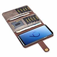 Недорогие Чехлы и кейсы для Galaxy S7 Edge-Кейс для Назначение SSamsung Galaxy S9 Plus / S9 Бумажник для карт / Защита от удара / Флип Чехол Однотонный Твердый Кожа PU для S9 / S9 Plus / S8 Plus