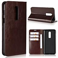 preiswerte Handyhüllen-Hülle Für OnePlus OnePlus 6 / OnePlus 5T Kreditkartenfächer / mit Halterung Ganzkörper-Gehäuse Solide Hart Echtleder für OnePlus 6 / One Plus 5 / OnePlus 5T