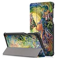 お買い得  携帯電話ケース-ケース 用途 Lenovo Tab 7 耐埃 / フリップ / オートスリープ / ウェイクアップ フルボディーケース カートゥン ハード PUレザー のために Lenovo Tab 7