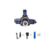 お買い得  フラッシュライト/ランタン/ライト-568-T6 01 ヘッドランプ LED LED 2000 lm 3 照明モード チャージャー付き ズーム可能, 防水, 焦点調整可 キャンプ / ハイキング / ケイビング, 日常使用, ダイビング / ボーティング ブルー