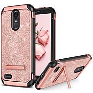 お買い得  携帯電話ケース-BENTOBEN ケース 用途 LG StyLo 3 耐衝撃 / スタンド付き / メッキ仕上げ バックカバー キラキラ仕上げ ハード PUレザー / TPU / PC のために LG StyLo 3